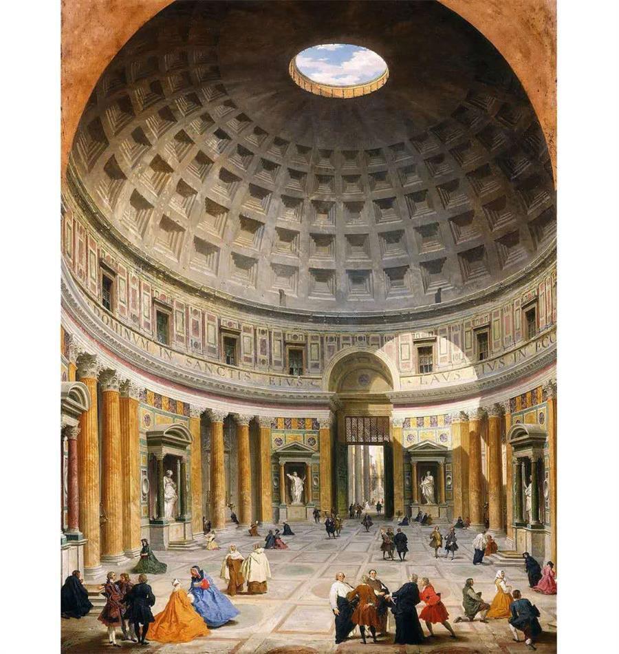 罗马最宏伟的欧亿土建筑就在首都——罗马万神殿的圆形穹顶