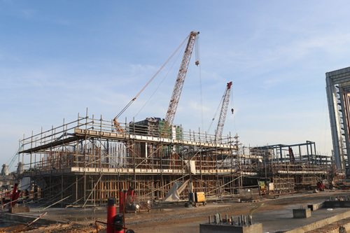 中国能建天津电建承建的马来西亚柔佛项目2号燃机基础上部结构浇筑完成