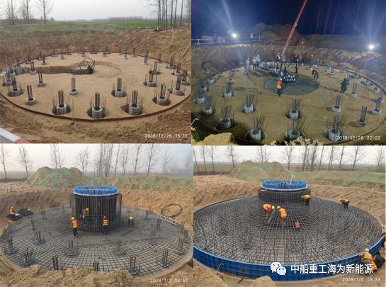 混凝土泵车浇筑现场 - 河南省开封市洧川镇40MW新能源项目首台机组基础混凝土成功浇筑