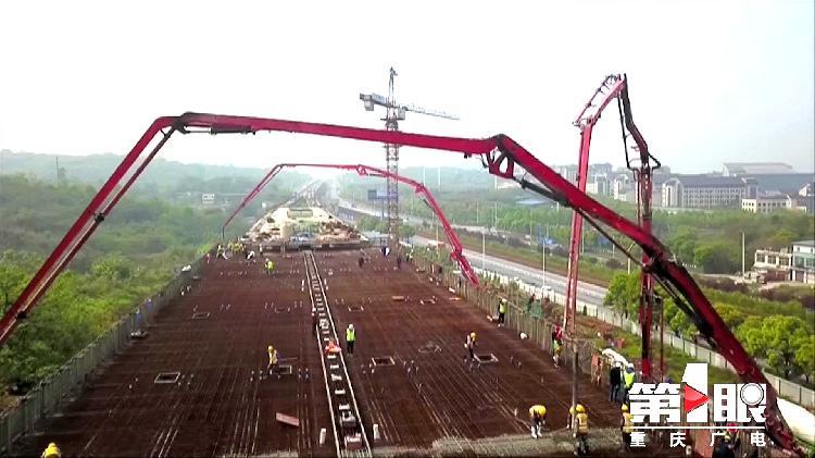 三一重工泵车浇筑现场 - 重庆轨道交通5号线江津段最大单体箱梁开始混凝土浇筑
