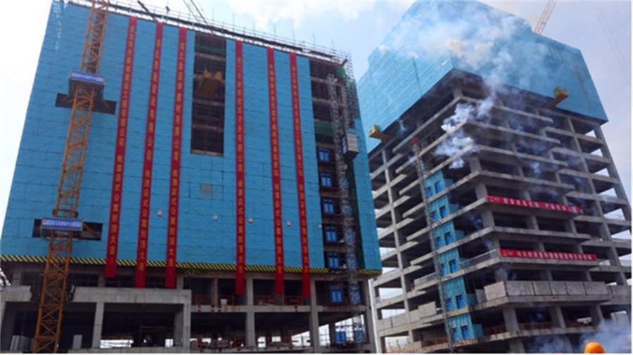 """十五冶一公司黄石科创中心项目""""公寓式酒店""""提前一个月顺利封顶"""
