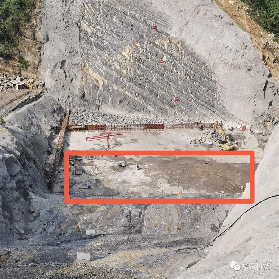 首仓浇筑整体完成图 - 华石科技:杨公岩水库大坝堆石欧亿土首仓欧亿土浇筑完成